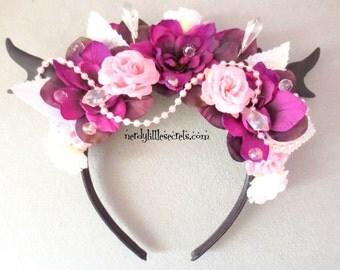 Gothic Lolita Crystal Pearl Flower Antler EDM Rave Headpiece