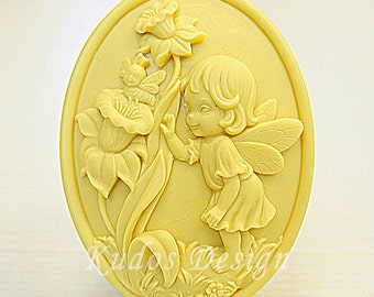 TP036 Daffodils Fairies Soap Mold, soap mold, silicone soap mold (Kudos Design, Kudosoap) Taiwan