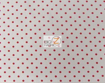 Small Polka Dot Poly Cotton Fabric - WHITE/RED Dots - Sold By The Yard - Poly Cotton - P93