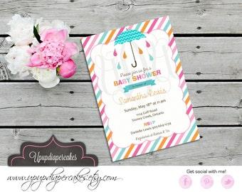 Baby Shower Invitation--Shower Invite--Umbrella Invitation--Girl Showe--Printable Invitation--DIY