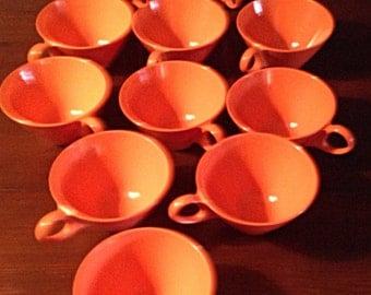 Vintage Tangerine Melamine Cups Mid Century MOD 1960s
