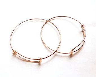 1 Adjustable Rose Gold Plated Stackable Bangle Bracelet 22-34-1