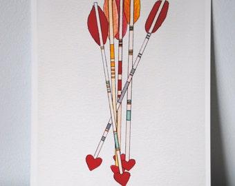 Watercolor Valentine Arrows Print