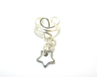 Stainless Steel Star Cartilage Cuff Earring, non pierced earrings, ear cuff, cute earrings, star ear cuff