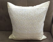 Silk Lace Pillow Cover in Delicate Ivory and White 19'' x 19''