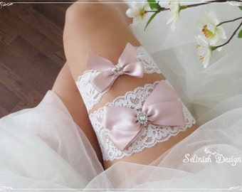 Wedding Lace Garter Set for Blush Pink Wedding, Bridal Garter Set, Wedding Garter Set, Blush Wedding, Bow Garters