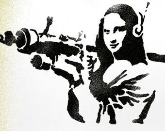 Banksy Mona Lisa XL stencil, Mona Lisa Bazooka stencil, Banksy LIFE SIZE stencils, Ideal Stencils