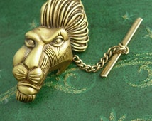 large Lion Tie tack with chain LARGE feather mane mask king of Jungle Fine mens estate jewelry victorian head  mens unusual jewellery