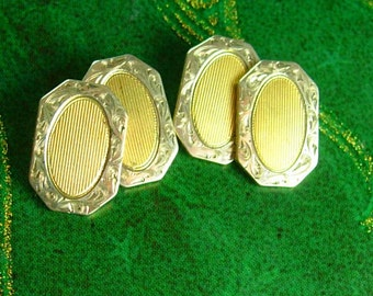 Antique Victorian Cufflinks yellow & white Gold Filled Fine Jewelry wedding estate jewelry