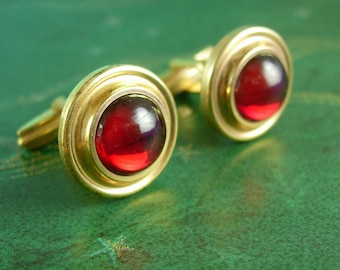 RED Cufflinks Swank Formal wear gold jeweled 15th 40th 45th Anniversary gift Forstar designer Forstner