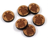 Laser Cut Supplies-8 Pieces.Turtle Charms - Laser Cut Wood Turtle -Earring Supplies- Little Laser Lab Sustainable Wood Products