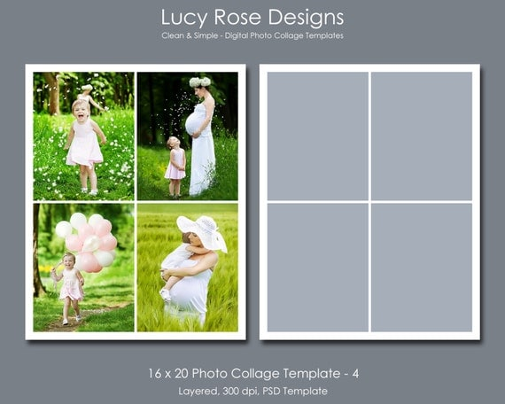 4 picture collage template - 16 x 20 photo collage template 4