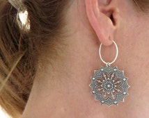 Silver Hoop Earrings, Filigree Earrings, Small Hoops, Patterned Hoops