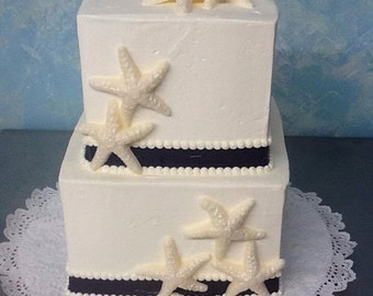 Chocolate Starfish for favors cupcakes or cakes 12 sea stars