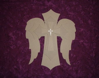 Wood Cross With Angel Wings Layered Wooden Stacked Crosses Paintable MDF Part MLC15-W001
