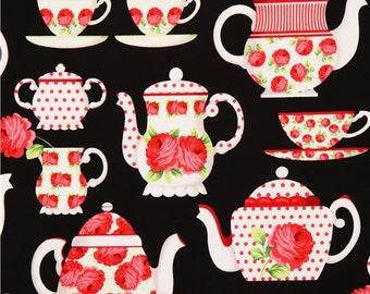 Tea Room fabric tea party roses flowers black pink red  - Michael Miller - YARD