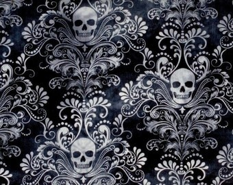 Skull Damask fabric charcoal gray black white - Wicked Eve by Timeless Treasures - by the YARD