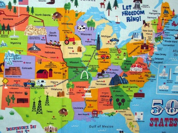 United States Map panel 50 states landmarks by fabricfrantic – Travel Map Of The United States