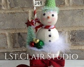 Candy Cane Lane Glitter Clay Snowman Decoration with Bottle Brush Tree