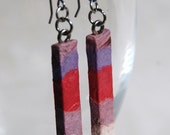 Girly Hanji Paper Earrings OOAK Patchwork Pink Purple White Boho Earrings Hypoallergenic hooks Dangle Earrings Lightweight