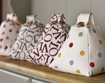 Emma Bridgewater Fabric Door stop Doorstop Handmade in Polka Dot Multi / Plum Love Grey Love Writing  / Scatter Hearts Fabric (unfilled)