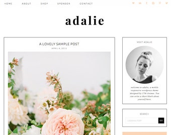 "Wordpress Theme Premade Blog Template Design - ""Adalie"" Instant Digital Download"