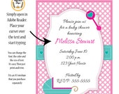 Carriage Baby Girl Shower Invitation
