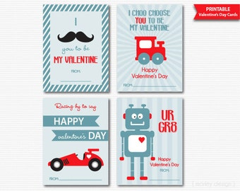 Boys Valentines Cards Classroom Valentines Kids Valentines Cards Valentines Day Cards Valentines Favors Printable Instant Download Digital