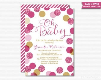 Pink Gold Baby Shower Invitation Girl New Baby Pink Glitter Shower Invitation Baby Girl Shower Shower Invite Sprinke Invitation Digital