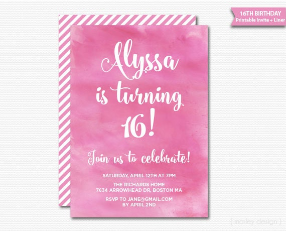 Teen birthday invitation sweet sixteen invitation tween birthday il570xn solutioingenieria Choice Image