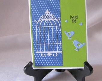 Fun bird card, Tweet me Card, Twitter Card, Birdcage Card