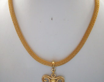5mm Gold Mesh Chain Necklace with Silver and Gold Ram Head Pendant