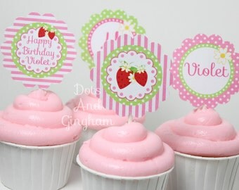 Strawberry Cupcake Topper-Printable Strawberry Cupcake Toppers-Strawberry Party-Strawberry Birthday-Strawberry-Pink Strawberry Cupcakes
