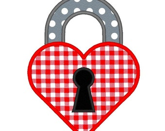 Padlock Keyhole Heart Love Valentine Applique. Machine Embroidery Design Digitized File
