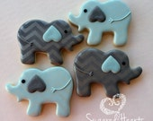 Elephant Baby Shower Cookies Chevron Blue and Grey - 1 Dozen