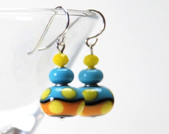 Yellow and Turquoise Blue Lampwork Glass Earrings - Sterling Silver Earrings