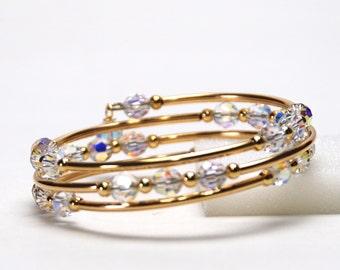 Crystal AB Memory Wire Bracelet - Aurora Borealis Swarovski Crystal Bracelet - Handmade Gold Bridal Jewelry