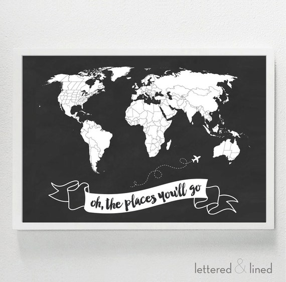 oh the places you 39 ll go world map kid room kids. Black Bedroom Furniture Sets. Home Design Ideas