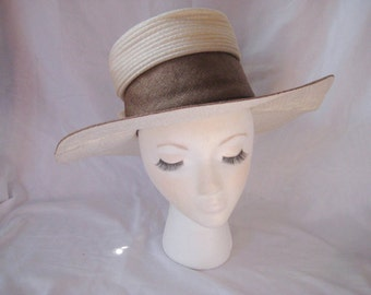Formal wide brim hat, brown ivory hat, bow hat, 50s 60s hat, Sunday Church hat