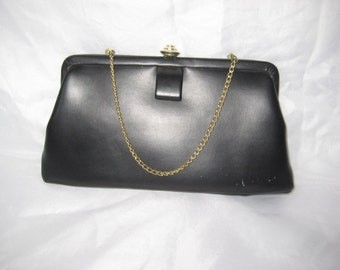 Black faux leather clutch, evening formal clutch, vintage 60s clutch, bags and purses