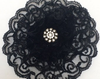 Womens Black Lace Yarmulke Ladies Black Kippah Lace Kippot