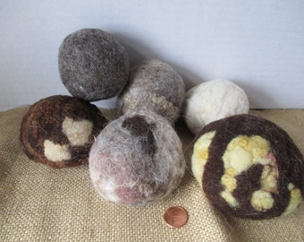 Merino Wool Balls Lot of 6 for Crafting Felting Display Natural from Local Farm