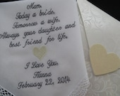Give a Gift to the Mother of the Bride a Personalized Embroidered Wedding Handkerchief. Comes with a FREE Gift Box.