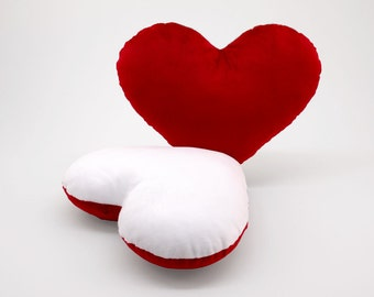 Red and White Team Spirit Hug Heart Shaped Pillow 12x14 inches