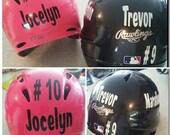 Football Baseball Helmet Decal DIY Home Mom Team Number Monogram Initials Gift Sports Girls Boys Kids Childrens Ball field Sticker Bumper