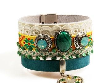 Wide leather cuff bracelet green and yellow, boho Ibiza style, leather, lace, ribbon, heart, malachite stone, Swarovski - handmade jewelry