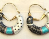 RESERVED Vintage Early 1970s Laurel Burch Cloisonné Enamel Puffy Figural Love Birds Pierced Earrings Sterling Silver 24k Vermeil Gold Wash