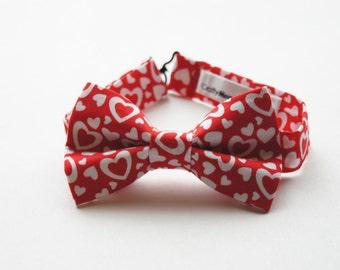 Bow Tie -Red w/ White Hearts Bowtie
