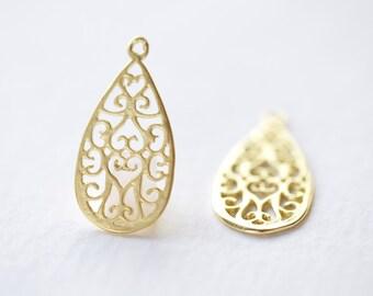 Gold Vermeil Filigree Teardrop Earring Finding - 18k gold plated over sterling silver, ornate water drop shape pendant