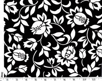 1 Yard, White Floral on Black
